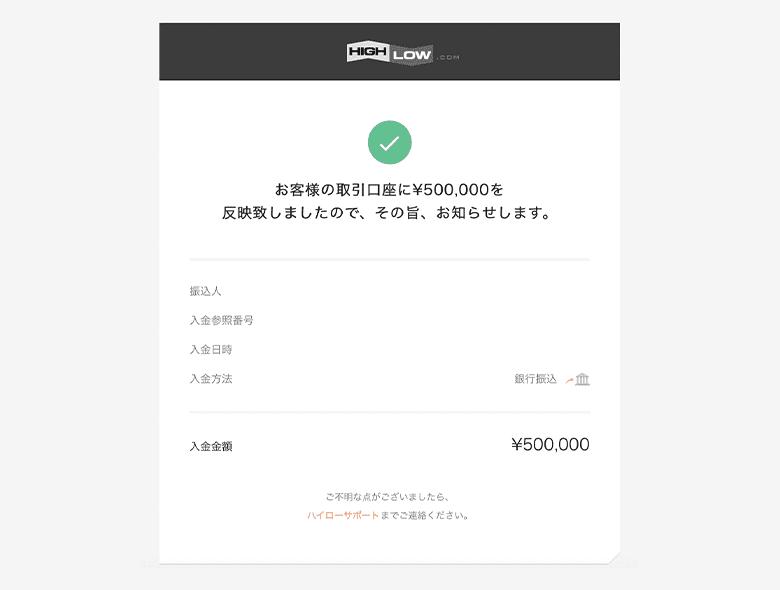 銀行振込入金の口座反映後に届くハイローオーストラリアからのメール